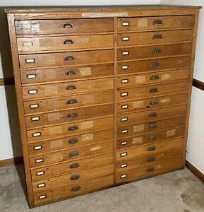 Antique Topo Topographical Map 26 Drawer Unit Cabinet. Very Neat!