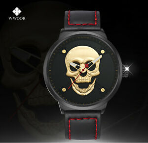 Men's Skull Watch, Matching Gift Box, NEW, Leather band, US Seller, FREE SHIP