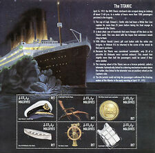 Maldive 1998 MNH Titanic 6V M / S Navi Barche WHITE STAR LINE