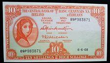 IRELAND 1968  UNC 10/ SHILLING  LADY LAVERY BANKNOTE