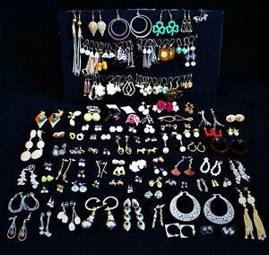 ESTATE JEWELRY LOT 116 PAIRS OF EARRINGS PIERCED VINTAGE CONTEMPORARY COSTUME