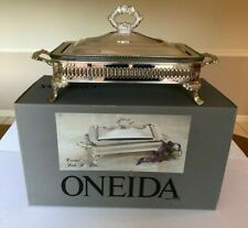 New listing Oneida Covered Bake n Serve W/ Ovenware Glass Liner - Silver-plated - 2 Quart