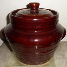 Harcrist Oven Proof Stoneware Bean Pot Daisy Dot Brown Kitchenware Collectible