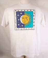 Vintage 90s Sun And Moon Astrology T Shirt White Hanes Beefy-T