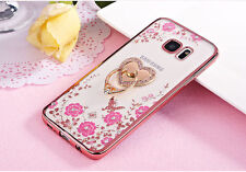 US Ultra-thin flower Clear Case Cover With Bling Metal Ring Stand for Samsung S8