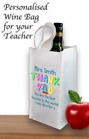 TEACHER GIFT PERSONALISED WINE BOTTLE BAG  BEST TEACHER /TA END OF TERM LEAVING