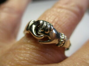 STERLING SILVER 925 IRISH CLADDAGH FEDE GIMMEL PUZZLE HAND HEART RING SIZE 7