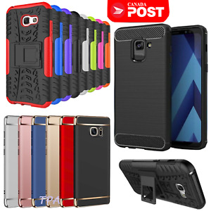 For Galaxy A5 A7 2017 A8 2018 Heavy Duty Kickstand Electroplating Case Cover