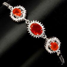 Fantastic Oval 9x7mm Top Rich Orange Fire Opal Cz 925 Sterling Silver Bracelet