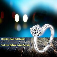 Adjustable 925 Sterling Silver Plated Friendship Wedding Valentine Round CZ Ring