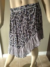 Hazel Light Gray Asymmetrical Floral Skirt Size M