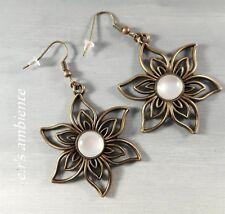 Ohrringe mit XXL-Blüten, Bronze-Vintage-Look, Ohrhänger, 0427