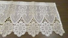 4pc Vintage Embroidered Sheer Curtain Panels & Valance White with Gold