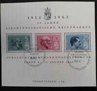 1962 Liechtenstein 50th Anniv of Postage Stamps Minisheet w 3 stamps & cachet