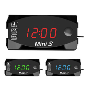 3 In 1 Car Digital Time Clock Thermometer Voltmeter LED Display Motorcycle Watch