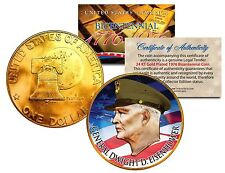 General Dwight D Eisenhower Colorized 1976 Ike Dollar U.s. Coin Gold Plated Army