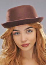 Bowler Hat Brown Felt With Band Fancy Dress Adult One Size