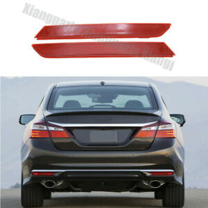 2X Rear Bumper Side Marker Lights Reflector Red Lamps For Honda Accord 2016-2017