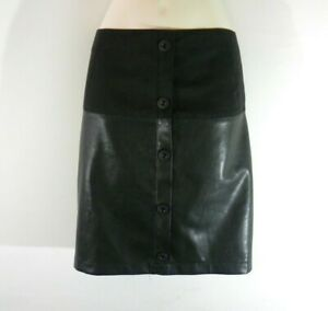 Women's Black Looks Leather INTUITION Zip Button Mini Casual Skirt Size 14 L 18