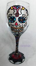 Day of the Dead Wine Glass Día de Muertos Gift Sugar Skull Goth Tribal Metal