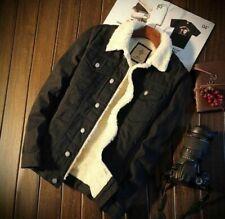 Men's Fleece Lined Winter Warm Coat Trucker Denim/Jean Jacket Fur Collar coat