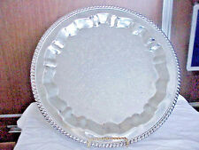 VINTAGE ROUND ORNATE SILVER PLATE SERVING  TRAY 15""