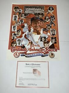 Stan Musial Estate 1978 Poster St Louis Cardinals Anheuser Bush 25 Years w/ COA