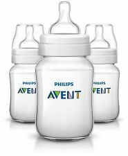 3 X Philips Avent Classic Baby Feeding Bottle 260ml/9oz Slow Flow 1m Scf563/37