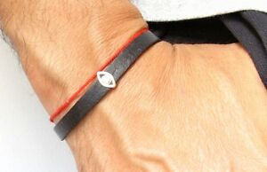 evil eye sterling silver black leather bracelet bangle luck kabbalah amulet men