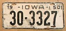 "1950 IOWA PASSENGER  AUTO  LICENSE PLATE "" 30 3327 "" IA 50"
