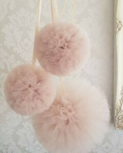 Tulle Pom Poms X 4 hanging garland