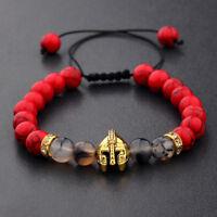Charm Men Gold Silver Spartan Helmet Natural Red Agate Gem Gasket Woven Bracelet