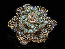 Royal rose sapphire blue crystal brass gold brass flower brooch scarf clip D27