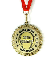 Softball Medal- Team Award- Minimum Order 6- Custom Wording- Free Neck Ribbon