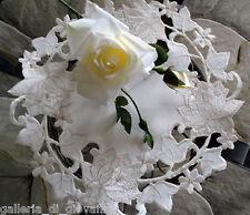 "Enchantment  Lace  Doily  Rose  Flower 11"" Cream Color"