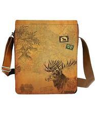 Viaggio Moose Canada Map Messenger Tablet Padded Knitting Bag Vegan Sepia SALE