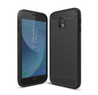 SDTEK Carbon Fibre (TPU) Case [Silicone] Cover for Samsung Galaxy J3 (2017)