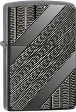 Zippo Coils Armor Black Ice WindProof Lighter NEW 29421