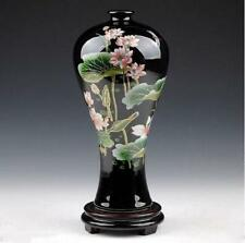 Exquisite Chinese black Porcelain Handmade painting Lotus&Dragonfly vase