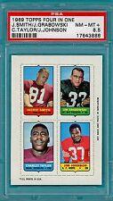 1969 Topps FB Four in One Smith/Grabowski/Taylor/Johnson – PSA 8.5!