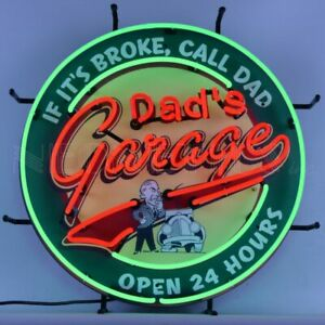 Dad'S Garage Neon Sign With Backing Hot Rod Racing Car Gameroon Light Mancave