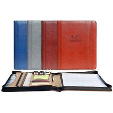 Leather Business Padfolio Portfolio Folder Organizer Resume Notebook 4 Colors