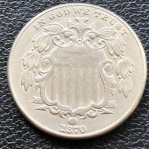 1870 Shield Nickel 5c High Grade AU #28834