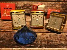 RARO OROLOGIO SVEGLIA TRAVEL VINTAGE DIAMOND 15 JEWELS MINT in BOX