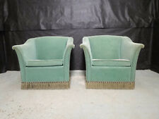EB642 Pair of Spearmint Green Velour Lounge Chairs Vintage Danish Retro