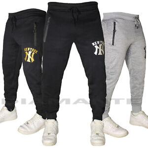 Pantaloni Tuta Uomo Cotone Elasticizzati Sportivi Palestra New York Design 7231