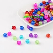 50 x Glass beads crackled crackle mixed colours round necklace bracelet 8mm new