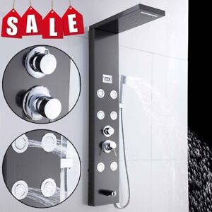 Shower Panel Column Tower With Body Jets Twin Head Thermostatic Shower Bathroom