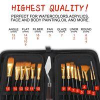UK 15PCS Pro Art Painting Brushes Set Acrylic Oil Watercolor Artist Paint Brush