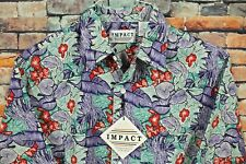 NOS Vtg 80s IMPACT Hawaiian Floral Print Shirt MEDIUM Button Front Short Sleeve